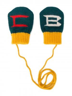Варежки с логотипом Bobo Choses. Цвет: зеленый