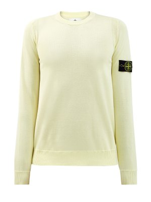 Хлопковый пуловер с логотипом на рукаве STONE ISLAND. Цвет: желтый