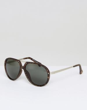 Солнцезащитные очки-авиаторы в черепаховой оправе New Look. Цвет: коричневый