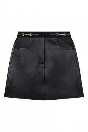 Черная кожаная мини-юбка Maje. Цвет: черный