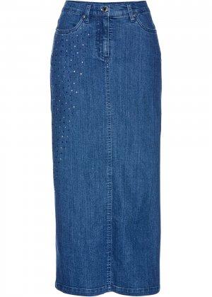 Юбка джинсовая, со стразами bonprix. Цвет: синий