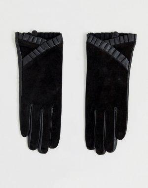 Перчатки из кожи и замши с оборками -Черный Barneys Originals