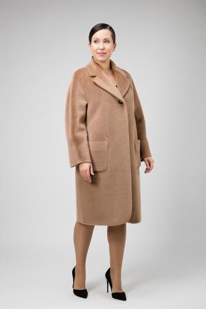 Классическое пальто с английским воротником на большой размер Elisabetta. Цвет: бежевый