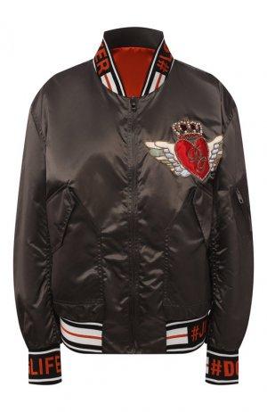 Двусторонний бомбер Dolce & Gabbana. Цвет: темно-серый