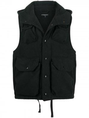Фетровый жилет с капюшоном Engineered Garments. Цвет: черный