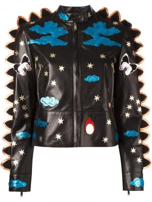 Кожаная куртка с контрастными нашивками Valentino. Цвет: чёрный