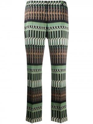 Прямые брюки 1990-х годов с геометричным принтом Dries Van Noten Pre-Owned. Цвет: черный