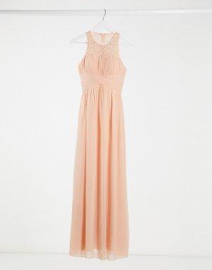 Платье макси персикового цвета с кружевом bridesmaid-Розовый цвет Little Mistress