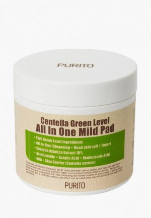 Спонжи Purito очищающие с центеллой Centella Green Level All in One Mild Pad, 70 шт./130 мл. Цвет: бежевый