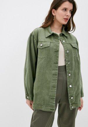 Куртка джинсовая Chic de Femme. Цвет: зеленый