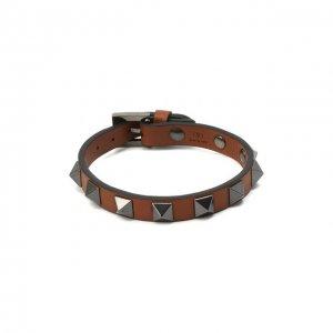 Кожаный браслет Garavani Valentino. Цвет: коричневый