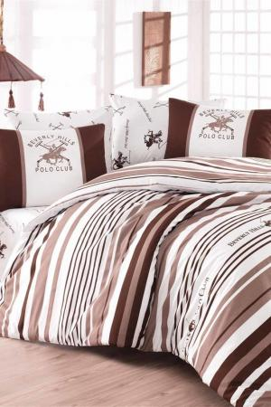 Комплект постельного белья, евро Beverly Hills Polo Club. Цвет: white, brown