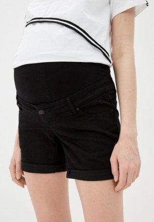 Шорты джинсовые Mamalicious. Цвет: черный