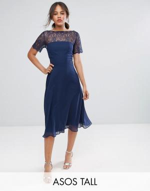 Платье миди с кружевной вставкой ASOS TALL