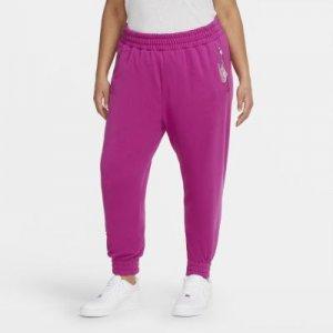 Женские слегка укороченные флисовые брюки Nike Air (большие размеры) - Пурпурный