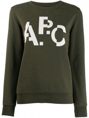 Джемпер с логотипом A.P.C.. Цвет: зеленый