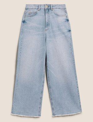 Укороченные джинсы с высокой талией и широкими штанинами M&S Collection. Цвет: светлый индиго
