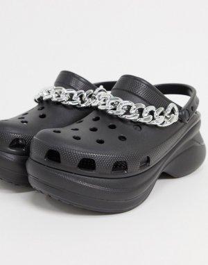 Черные туфли на платформе с цепочкой -Черный Crocs