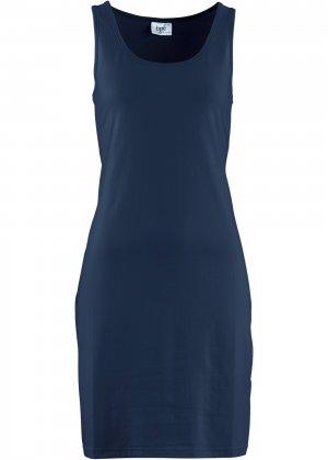 Трикотажное платье стретч bonprix. Цвет: синий
