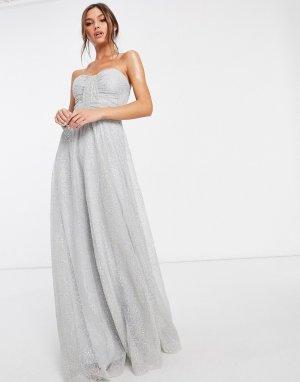Платье-бандо макси из сетки с пайетками в сером цвете -Серый Goddiva