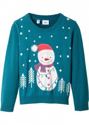 Пуловер с новогодним рисунком bonprix. Цвет: сине-зеленый