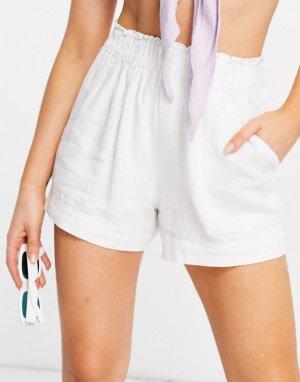 Белые шорты с поясом на резинке -Белый Abercrombie & Fitch