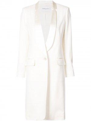 Кашемировое приталенное пальто Vionnet. Цвет: белый