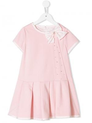 Платье с бантом Bimbalo. Цвет: розовый
