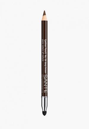 Карандаш для глаз Sante 06  Темно-коричневый. Цвет: коричневый