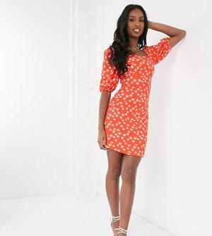 Платье мини с квадратным вырезом и принтом -Красный Glamorous Tall