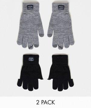 Набор из 2 пар вязаных перчаток серого и черного цветов -Разноцветный Jack & Jones