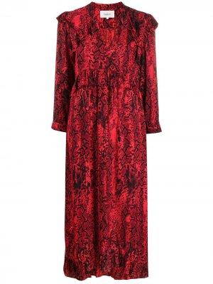 Платье с V-образным вырезом и змеиным узором Ba&Sh