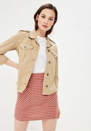 Куртка джинсовая Sisley. Цвет: бежевый