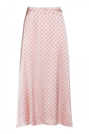 Расклешенная юбка-миди из вискозы VASSA&Co. Цвет: розовый