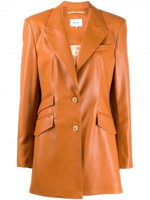 Куртка Cancun из искусственной кожи Nanushka. Цвет: оранжевый