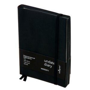 Ежедневник недатированный формат a6, 136 листов в клетку, обложка кожзам черная Calligrata
