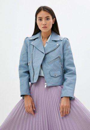 Куртка кожаная Michael Kors. Цвет: голубой