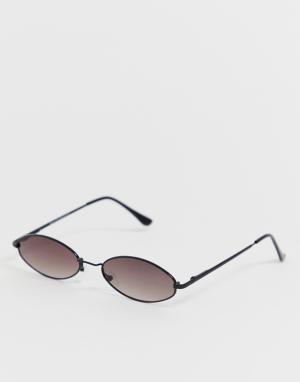 Черные овальные солнцезащитные очки -Черный New Look