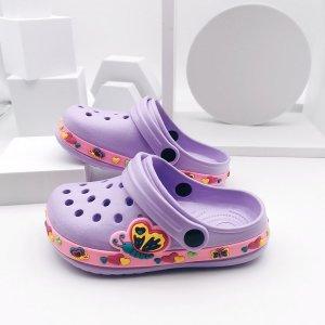 Кроксы с узором бабочки для девочек SHEIN. Цвет: пурпурный