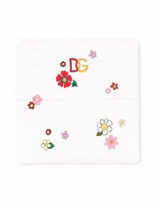 Floral-print cotton blanket Dolce & Gabbana Kids. Цвет: белый
