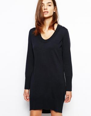 Платье-джемпер с удлиненным подолом сзади BZR. Цвет: темно-синий