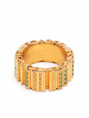 Кольцо Greca с кристаллами Versace. Цвет: золотистый