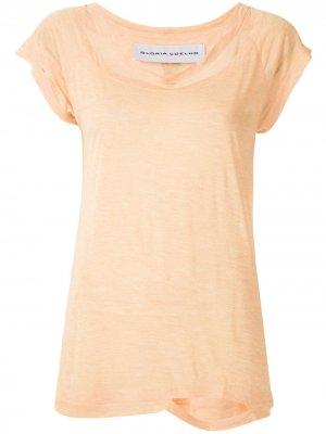 Блузка с вырезами Gloria Coelho. Цвет: оранжевый