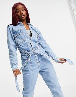 Голубой джинсовый комбинезон Tommy Jeans