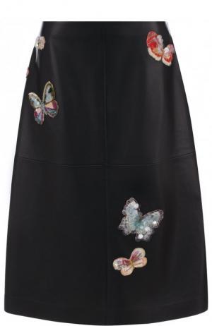 Кожаная юбка-миди с декоративной отделкой Valentino. Цвет: черный