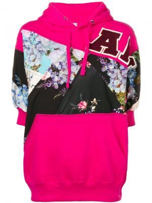 Толстовка с капюшоном и цветочными вставками Antonio Marras. Цвет: розовый