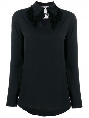 Блузка с вырезом-капелькой 8pm. Цвет: черный