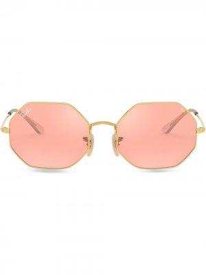 Солнцезащитные очки в восьмиугольной оправе Ray-Ban. Цвет: розовый