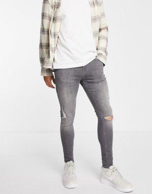 Серые джинсы с покрытием из эластичной ткани и рваной отделкой -Серый ASOS DESIGN