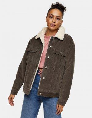 Серая куртка из джинсового вельвета с отделкой искусственным мехом -Коричневый цвет Topshop